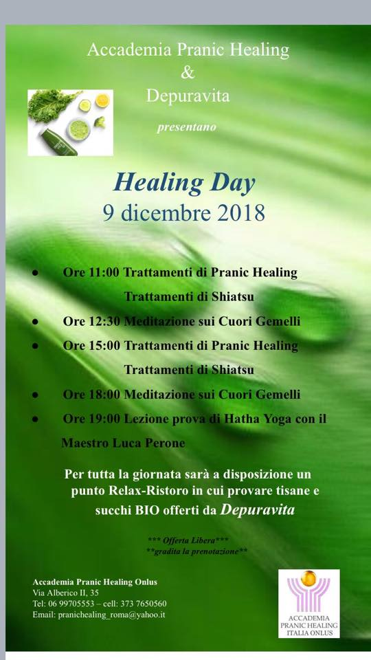 HEALING DAY – 9 DICEMBRE 2018