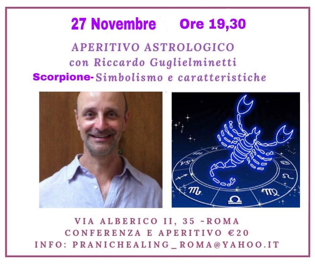 APERITIVO ASTROLOGICO – SCORPIONE 27 NOVEMBRE 19.30