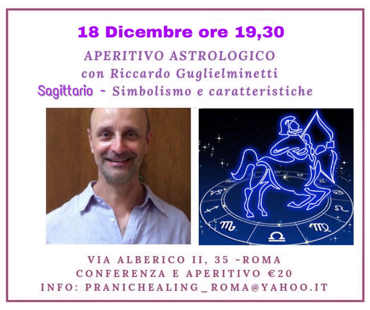 APERITIVO ASTROLOGICO – SAGITTARIO – 18 DICEMBRE ORE 19.30
